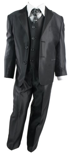 Kids Boys 3 Piece Suit Shiny Black Waistcoat Blazer & Trouser