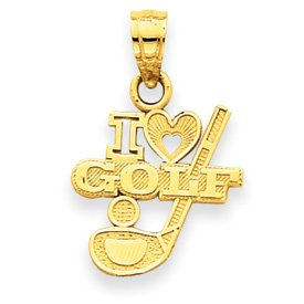 14k I (Heart) Golf, Club with Ball Pendant