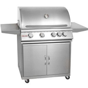 Blaze Blz-4-Ng 32 Inch 4-Burner Built-In Natural Gas Grill With Rear Infrared Burner And Grill Cart