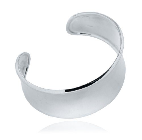 Silver Wide Concave Torque Bangle