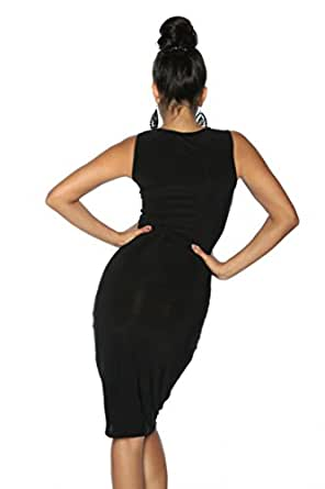 Silamoda - Femme - Robe sexy avec transparence poitrine et jambes - L - Noir