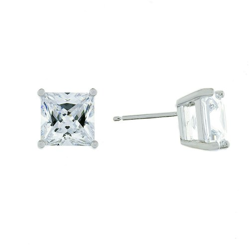 Platinum-Plated Sterling Silver 4 Carat Princess Cut Cubic Zirconia Stud Earrings