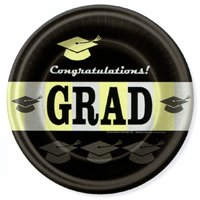 Graduation Black - Gold 10 Inch Paper Plates (8 Pack)