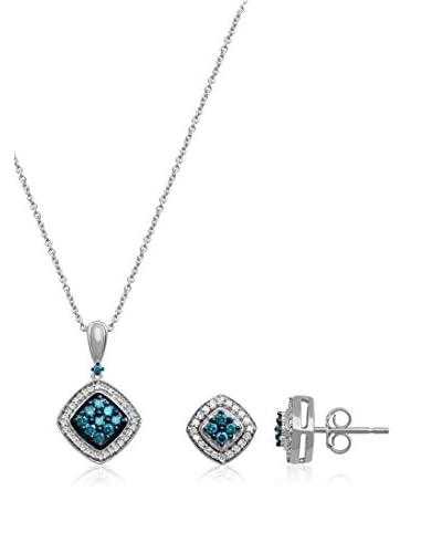 Jewelili Conjunto de cadena, colgante y pendientes plata de ley 925 milésimas