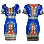 Orangesky-Women-Traditional-African-Print-Dashiki-Bodycon-Short-Sleeve-Dress