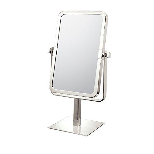 Mirror Image 80673 Rectangular Vanity Mirror, 1X And 3X Magnification, Brushed Nickel