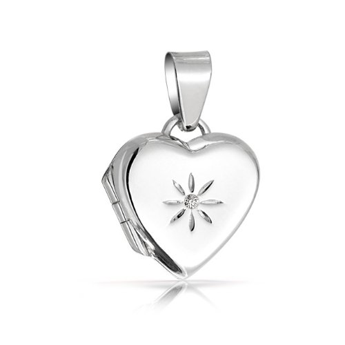 Bling Jewelry Star Flower CZ Childrens Heart Locket Pendant 925 Sterling Silver