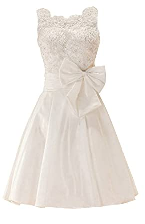 GEORGE BRIDE White Taffeta Straps With Beaded Lace and Bows Short Prom Dress Size 2 Ivory