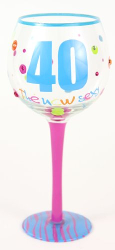 What Is The Price For Wine Glasses Hand Painted Milestone 40th Birthday Glass Holds 18 Oz In A Gift Box