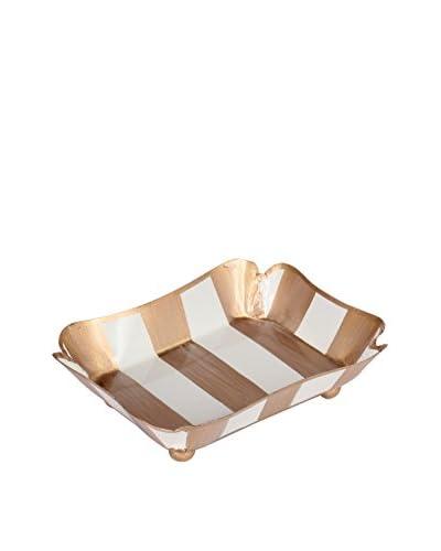 Jayes Brushed Stripe Trinket Tray, Cream/Gold