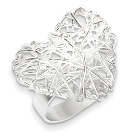 Genuine IceCarats Designer Jewelry Gift Sterling Silver Polished Puffed Heart Filigree Ring Size 6.00