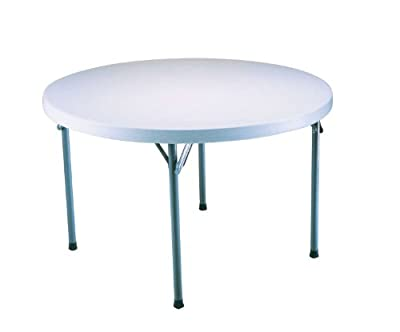 Lifetime 22960 4-Foot Round Table with 48-Inch Round Molded Top, White-Granite Finish