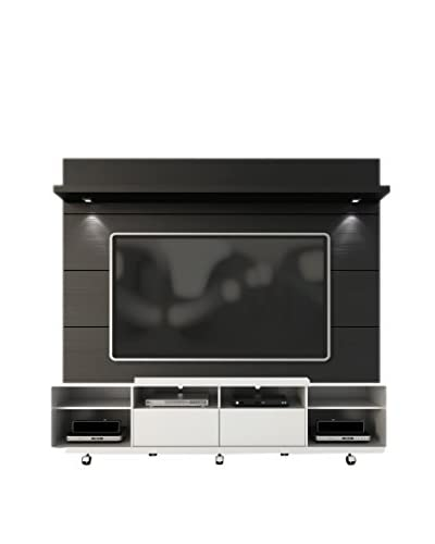 Manhattan Comfort Cabrini TV Stand & Panel 2.2, White/Black