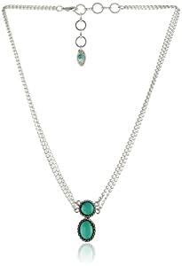 "NINE WEST VINTAGE AMERICA ""Subtle Splendor"" Worn-Silver and Turquoise Double Pendant Necklace, 16"""
