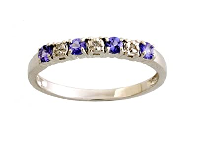 Kareco 9ct White Gold Diamond And Tanzanite 1/2 Eternity Ring