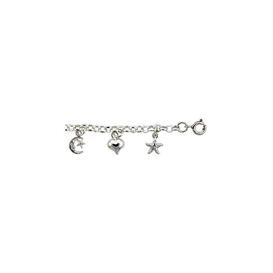 Sterling Silver Charm Bracelet w/ Dangling Stars, Hearts and Crescent Moon