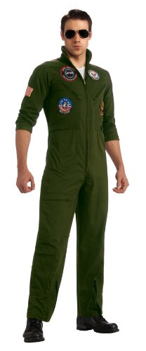 Rubies Top Gun Secret Wishes Flight Suit, Green Khaki, Small, Standard or X-Large