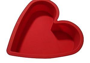 CmsHome Red Heart Premium Silicone Non-Stick non-Toxic Cake Pan 9 X 9.5