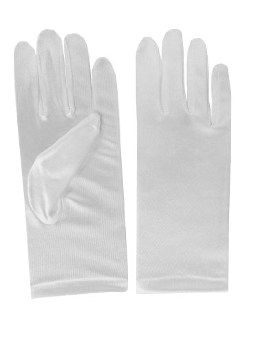 Black or White Satin Short 50's Lady Full Hand Smooth Classic Fancy Dress Gloves