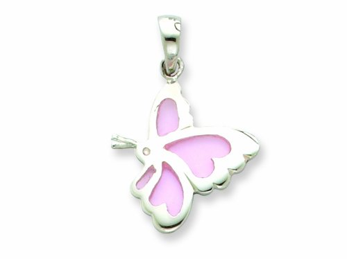 Sterling Silver Pink Resin Butterfly Pendant - Chain Included LIFETIME WARRANTY