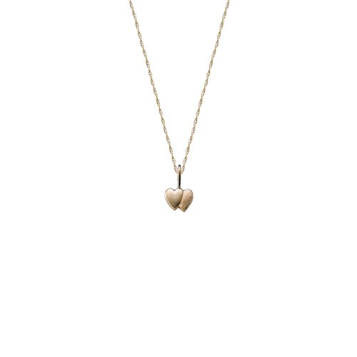 14k Yellow Gold Children's Double Heart Pendant Necklace, 15