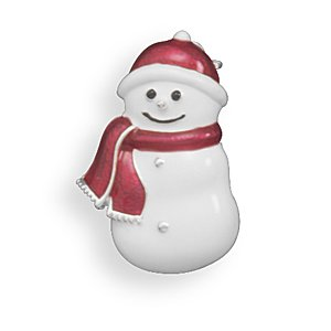 Red and White Epoxy Snowman Fashion Pin Silver Plated Nickel Free And Lead Free - JewelryWeb