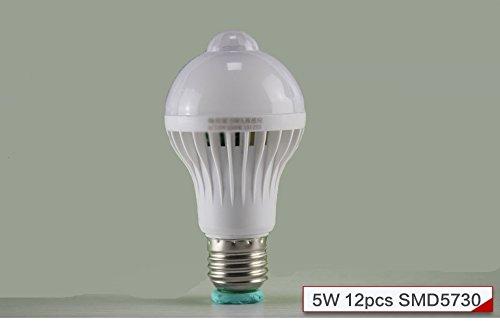 kasy-led ® 1Stücke (Theater) PIR Bewegungsmelder Lampe 5Watt LED E277Watt 9Watt Auto Smart LED-PIR Infrarot Körper Lampe mit den Bewegungssensor Lichter, Weiß, e27, 5.0 wattsW