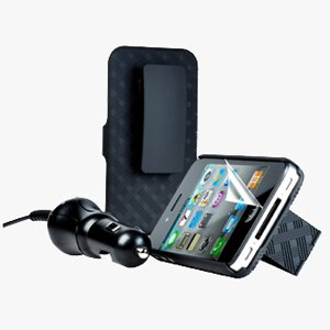 PureGear Power and Protection Package for iPhone 4/4S - Include Shell Holster Combo, 3 Pack Screen Protectors, and Rapid Charging Car Charger
