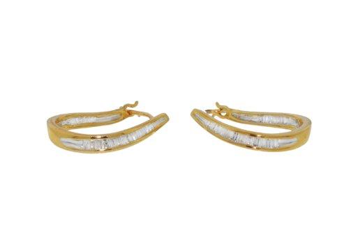 9ct Yellow Gold 0.25ct Diamond Baguette Twist Creole Earrings