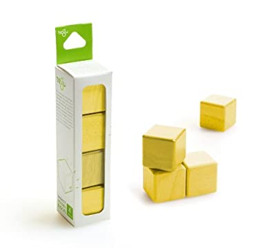 4 Piece Tegu Magnetic Wooden Block Cube Set, Yellow by Tegu