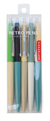 Kikkerland Retro Pens, Set of 5, Multi (4308-A)