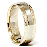 Mens 14k White and Yellow Gold Two Tone Comfrot Fit Brushed Center 6MM Dome Wedding Band Ring Size 8.5