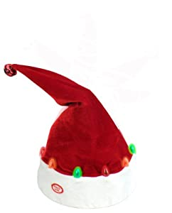 "Chantilly Lane 14"" Dancing Santa Hat with LED Sings ""Jingle Bells"""