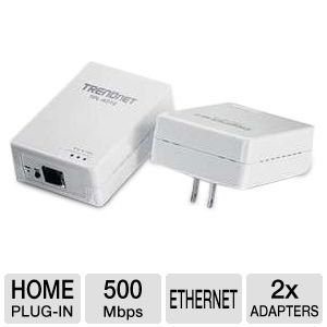 TRENDnet 500 Mbps Powerline Ethernet AV Adapter Kit TPL-401E2K (White)