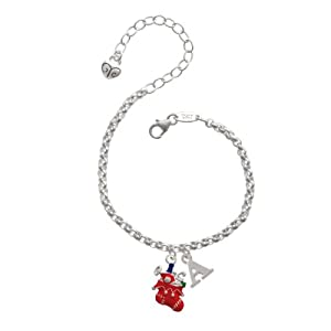 Red Christmas Stocking Initial - A - Charm Bracelet