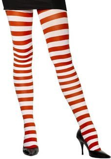 Tights - Stripped Red and White by Smiffy's (Red And White Stripped Tights)