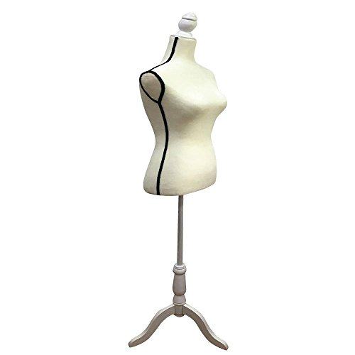 Valuebox Female Mannequin Torso Women Dress Form with Wooden Tripod Stand Size 6 (White Black Border) (Sewing Body Stand compare prices)