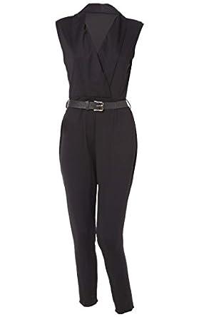 zeagoo overall damen elegant v ausschitt hose sommer festlich jumpsuit schwarz. Black Bedroom Furniture Sets. Home Design Ideas