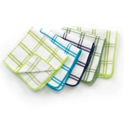 Ritz Cotton 12 by 12-Inch Dish Cloth with Poly Scour Side, Blue/Green, 5-Pack