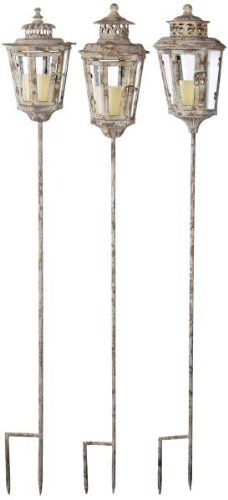 Esschert Design USA Aged Metal Lantern on Post, Assorted Styles (Discontinued by Manufacturer)