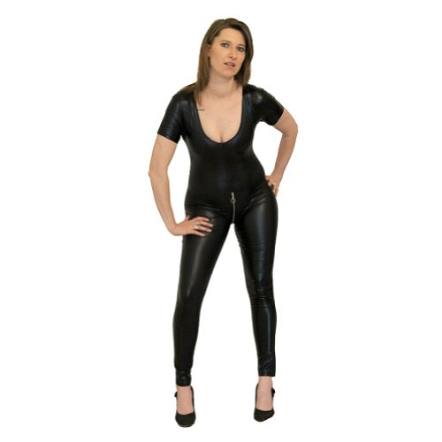 I-Glam Women's Fetish Wear Front To Crotch Zipper Catsuit Wetllook Bodysuit