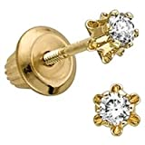 14kt. Yellow Gold, Child&#39;s Diamond Earrings