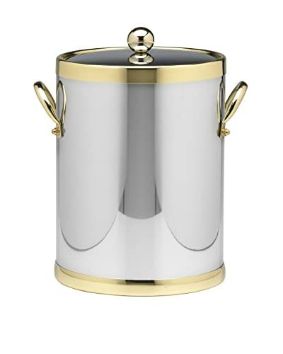 Kraftware Polished Chrome & Brass 5-Qt. Double Metal Handled Ice Bucket