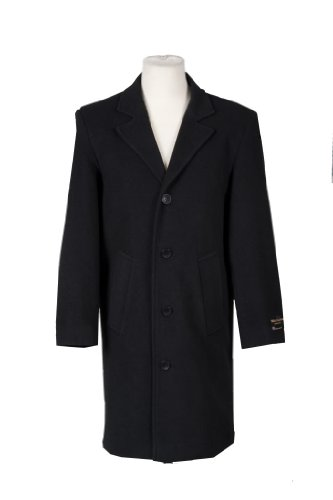 Mens Wool and Cashmere Long Formal Coat-Black - Size Medium