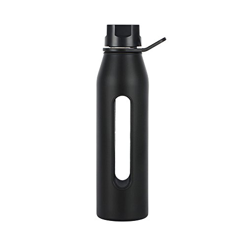Takeya 22 Ounce Classic Glass Water Bottle with Silicone Sleeve and Twist Cap, Black (Takeya Glass Water Bottle compare prices)