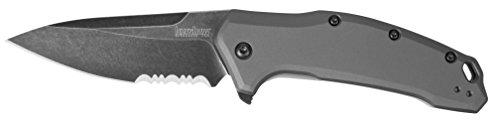 Kershaw 1776GRYBWST Gray Link Blackwash Serrated Knife with SpeedSafe, Grey