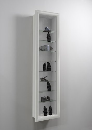 SHOWCASE II Wall Mounted Glass Display Case Cabinet Unit with Glass Shelves in White Colour