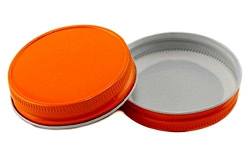 (12 Pack) Mason Jar Lids - Regular Mouth - Canning, Showers, Weddings, Party Favors (Orange)
