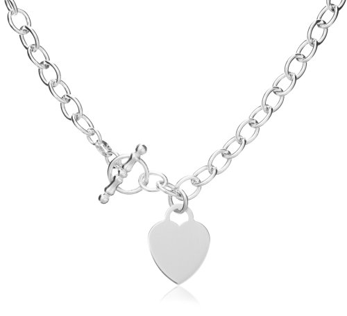 Silver Small Oval Belcher Heart T-Bar 41cm Chain