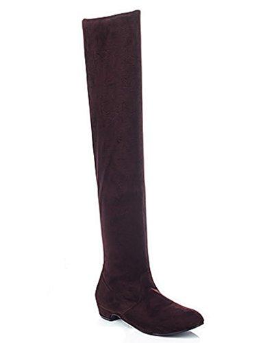 Minetom Donna Autunno Inverno Moda Stivali Sopra Il Ginocchio Heel Piatto Semplice Boots Lunghi Stivali Marrone EU 36